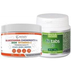 Glukozamina Chondroityna MSM Witamina C + Fintabs CD - odżywienie i regeneracja kości i stawów